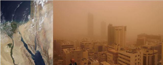 Tormenta de polvo sobre la ciudad de Amán días 3 y 4 de noviembre. Imagen MODIS –Terra, y fotografía desde la sede del encuentro de expertos.