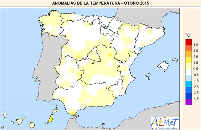 Anomalías temperatura en otoño