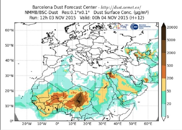 El modelo de predicción de concentración de polvo atmosférico del BDFC recogió muy bien la situación