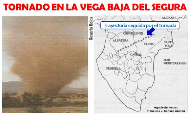 Tornado en la Vega Baja del Segura, Alicante
