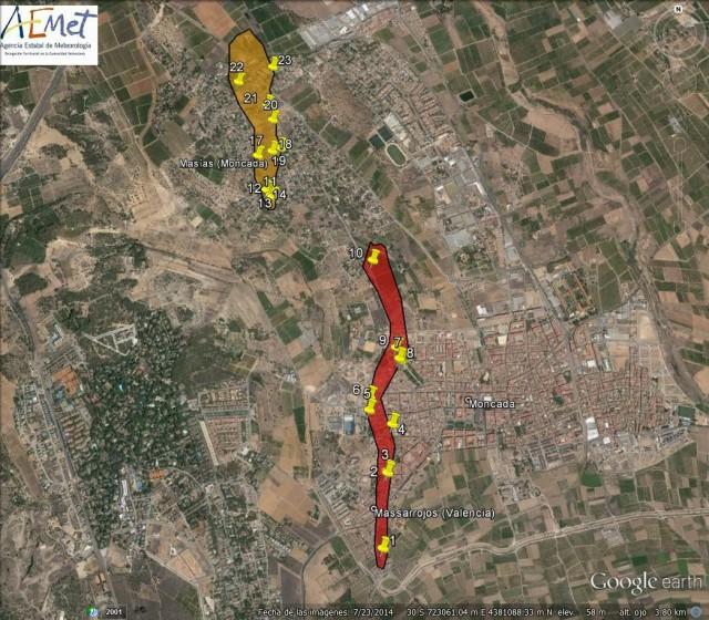 Daños más severos identificados en el término municipal de Moncada (con afectación a Massarrojos, término municipal de Valencia) en el temporal del 2 de noviembre de 2015.