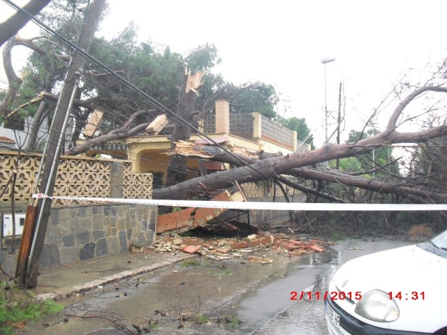 Punto número 22 identificado en la trayectoria del posible tornado, entre Massarrojos y Moncada. Foto cedida por la Policía Local de Moncada.