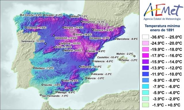 Temperatura mínima registrada a lo largo del mes de enero de 1891