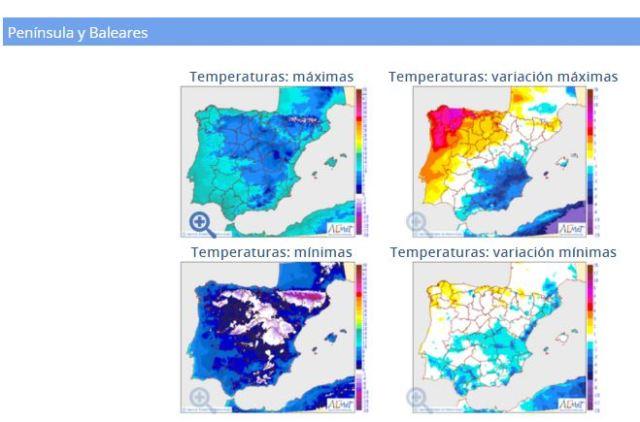 Temperaturas Península y Baleares