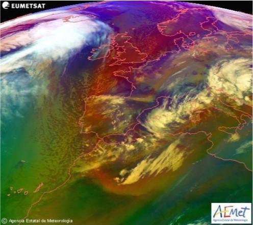 Imagen satelital de masas de aire