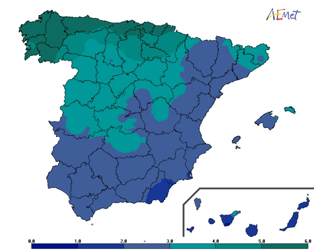 Número medio de días de precipitación entre el 20 y el 28 de marzo. Periodo 1981-2015