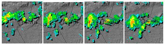 En este ejemplo se muestran una serie de imágenes radar del mediodía del Martes Santo, cuando una célula convectiva se abrió al paso sobre Sevilla y se volvió a cerrar después, de modo que se reportaron tormentas con granizo en barrios del norte, sur y este de Sevilla, y localidades vecinas al oeste, pero en el centro sólo cayó una lluvia débil.
