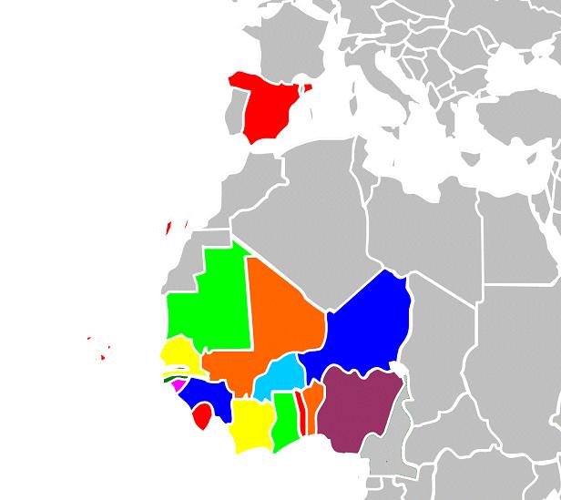 Países miembros de la Conferencia AFRIMET: los 16 países de la región oeste-africana y España.