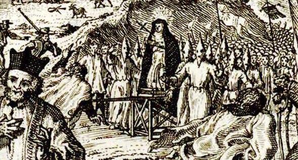 Ilustración 1. Imagen de rogativa por calamidad pública en La Mancha en aventura de don Quijote y disciplinantes, 1706. Bruxelles chez Guillaume Fricx imprimeur.