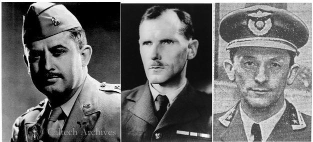 Respectivamente Irving P. Krick, James M. Stagg y Sverre Petterssen, tres de los protagonistas de la predicción para la operación Overlord. Fuente: Caltech Archive y Wikipedia.