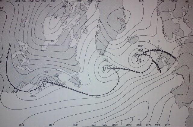 Mapa sinóptico del sábado 3 de junio de 1944 a las 1300 GMT. Fuente: Stagg J.M., Forecast for Overlord.