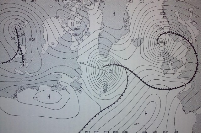 Mapa sinóptico del lunes 5 de junio de 1944 a las 1300 GMT. Fuente: Stagg J.M., Forecast for Overlord.