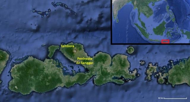 Figura 2: la isla de Sumbawa, la península de Sanggar y el volcán Tambora vistos hoy día a través de google maps. La zona queda situada al sur de Indonesia, entre las islas mayores de Java (al oeste) y de Flores (al este).