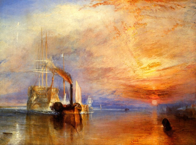 Figura 7: El Temerario Remolcado a Dique Seco (The Fighting Temeraire Tugged to Her Last Berth to Be Broken up). William Turner, 1836. The National Gallery, Londres. La pintura original muestra colores menos anaranjados pero este realce, muy difundido en la red, plasma a la perfección los ocasos que el autor quiere transmitir.