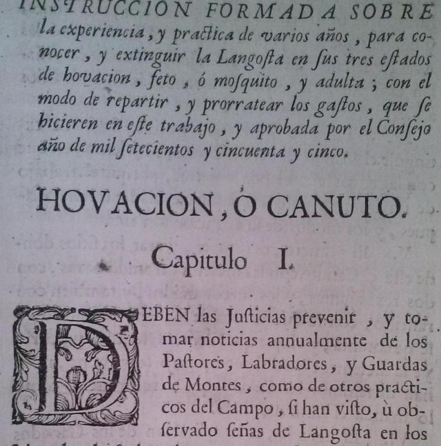 Instrucción de 1755 sobre extinción de langosta.