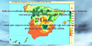 El mes de julio ha sido en conjunto muy cálido, con una temperatura media sobre España de 25,2 ºC, valor que queda 1,2 ºC por encima de la media de este mes (periodo de referencia_ 1981-2010) (1)